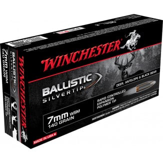 Winchester Ballistic Silvertip Rifle Ammunition 7mm WSM 140 gr BST 3225 fps - 20/box