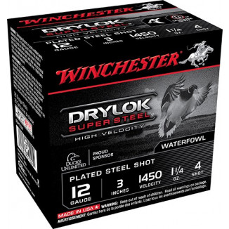 "Winchester Supreme High Velocity Drylok Super Steel Waterfowl Load 12 ga 3"" 1-1/4 oz #4 25/Box"