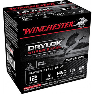 "Winchester Supreme High Velocity Drylok Super Steel Waterfowl Load 12 ga 3"" 1-1/4 oz #BB 25/Box"