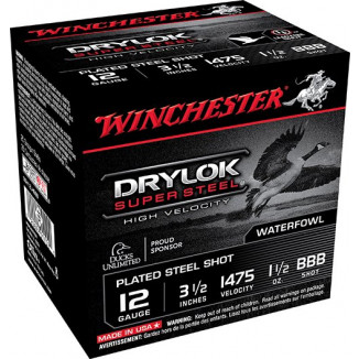 "Winchester Supreme High Velocity Drylok Super Steel Waterfowl Load 12 ga 3-1/2"" 1-1/2 oz #BBB 25/Box"