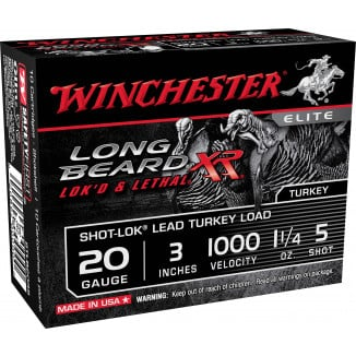 "Winchester Long Beard XR Shotshells 20 ga 3"" 1-1/4oz 1000 fps #5 10/ct"