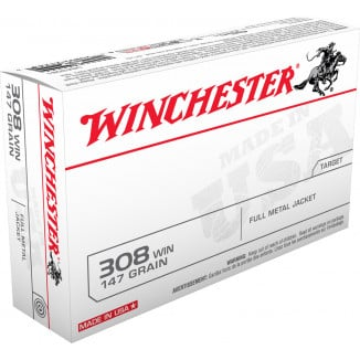 Winchester USA Rifle Ammunition .308 Win 147 gr FMJ  - 20/box