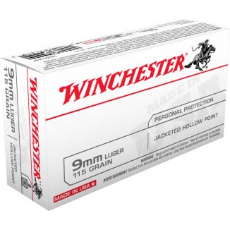 Winchester USA Handgun Ammunition 9mm Luger 115 gr JHP  50/box