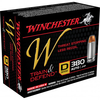Winchester W Train & Defend Handgun Ammunition .380 ACP 95 gr JHP 20/Box