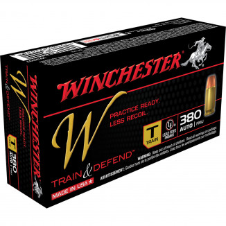 Winchester W Train & Defend Handgun Ammunition .380 ACP 95 gr FMJ 50/ct