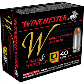 Winchester W Train & Defend Handgun Ammunition .40 S&W 180 gr JHP 20/ct