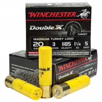 "Winchester Supreme Double-X Magnum Turkey 20 ga 3"" MAX 1 1/4 oz #5 1185 fps - 10/box"