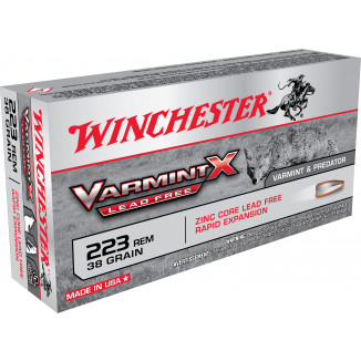 Winchester Lead Free Varmint X Rifle Ammunition .223 Rem 38gr HP 3800 fps 20/ct