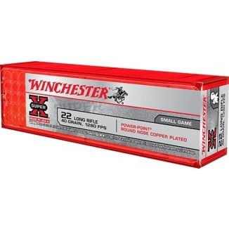 Winchester Super-X Powerpoint Rimfire Ammunition .22 LR 40 gr HP 1280 fps 100/box