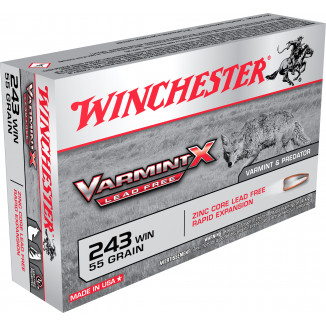 Winchester Lead Free Varmint X Rifle Ammunition .243 Win 55gr HP 3910 fps 20/ct