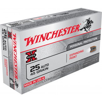 Winchester Super-X Handgun Ammunition .25 ACP 45 gr EP 815 fps 50/box