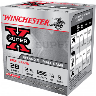 Winchester Super-X High Brass Game 28ga 2-3/4 in 3/4oz #5  25/ct