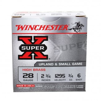 "Winchester Super-X High Brass Game Shotshells 28 ga. 2-3/4"" 3/4oz #6 25/ct"