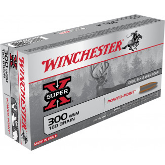 Winchester Super-X Power Point Rifle Ammunition .300 WSM 180 gr PSP 2970 fps 20/ct
