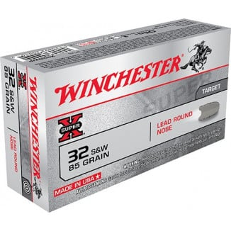 Winchester Super-X Handgun Ammunition .32 S&W 98 gr LRN 705 fps 50/box