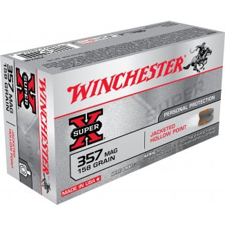 Winchester Super-X Handgun Ammunition .357 Mag 158 gr JHP 1235 fps 50/box