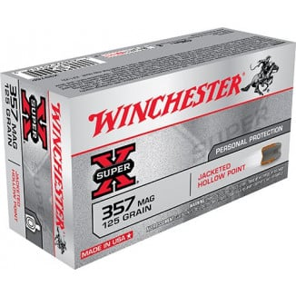 Winchester Super-X Handgun Ammunition .357 Mag 125 gr JHP 1450 fps 50/ct