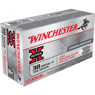 Winchester Super-X Handgun Ammunition .38 Spl (+P) 158 gr HP 890 fps 50/ct