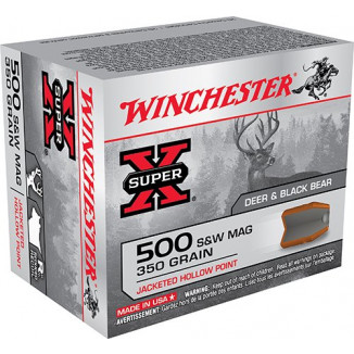 Winchester Super-X Handgun Ammunition .500 S&W 350 gr JHP 1400 fps 20/box