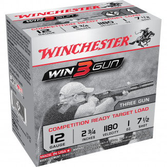 "Winchester Win3Gun Shotshells - Competition Ready Target Load 12 ga 1180 fps 2-3/4"" 1 oz #7.5 25/ct"