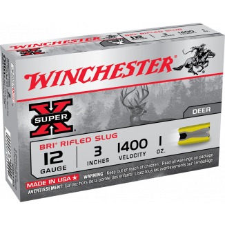 "Winchester Super-X Slug 12 ga 3""  1 oz Slug 1400 fps - 5/box"