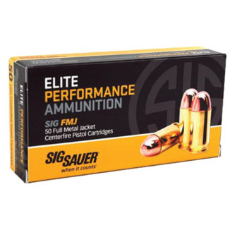 Sig Elite Performance Handgun Ammunition 9mm Luger 115 gr FMJ 1185 fps 50/ct