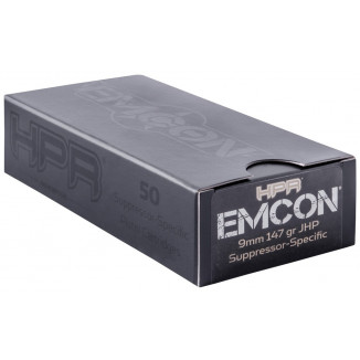 HPR Emcon Handgun Ammunition 9mm Luger 147 gr JHP 905 fps 50/ct