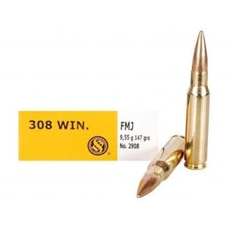 Sellier & Bellot Rifle Ammunition .308 Win 147 gr FMJ 20/Box